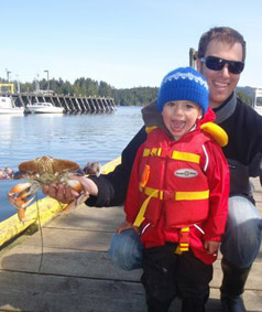 Fresh dungenous crab caught by family out with Cleanline Sportfishing!